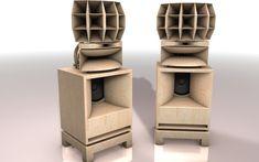 Enceintes HR3-01 Caisson de basses Dim: L=700 mm  H=800 mm  P=700 mm   Pour boomer de 380 mm   Système bass-reflex linéaire Pavillon réplique TAD TH-4001 moteur 2 pouces Pavillon ALG 15-737 moteur 1 pouce - Fabrication en multiplis de Bouleau