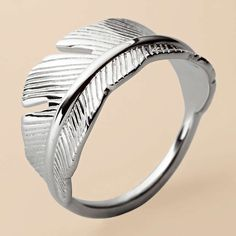 FOSSIL® Jewelry Sterling Silver:Women Sterling Feather Ring - 7 JFS00002