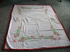Vintage Embroidered Tablecloth Cherry with pompom tassels Green Red