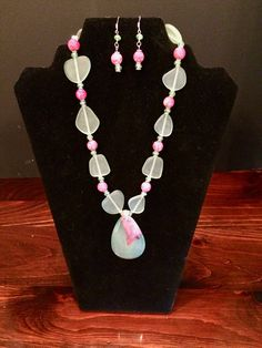 Cultured Sea Glass Necklace and Earrings in Sea Foam Green and Pink by JewelsAndBeadsByG on Etsy