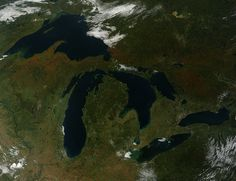Fall Colors Arriving. The Moderate Resolution Imaging Spectroradiometer (MODIS) on NASA's Terra satellite captured this view of fall colors around the Great Lakes on Sept. 26, 2014, just a few days after the equinox. (Image Credit: Jeff Schmaltz at NASA GSF)