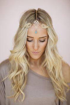 Gold Leaf Headpiece Chain Headband Turquoise Boho by ThreeBirdNest, $28,00