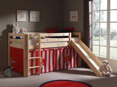 Łóżko piętrowe dla dzieci Pino ze zjeżdżalnią - sosna naturalna