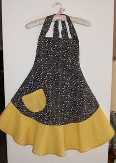 Black and Yellow Apron  Womens Medium by AStitchinTime72 on Etsy, $18.00