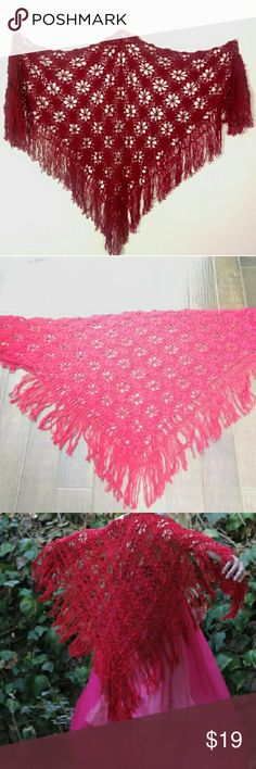 """Red Boho Crochet Shawl Bright red crochet wrap with fringe. Great boho shawl to throw on over a bare outfit or sweet to finish off an artistic costume.  Pretty good condition, def shows some wear, mild fabric pilling, couple loose threads and wear to the fringe. No stains, holes or major flaws.  100% polyester. Triangle shape, approx 67"""" across at top. Fringe approx 7"""" long Not vintage, from the 2000s, tags cape, boho, bohemian, frida kahlo, Mexican, day of the dead, theater, free people…"""