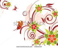 stock vector : Grunge flower background with butterfly, element for design, vector illustration