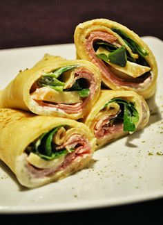Küchenzaubereien: Crêpes-Wraps mit Schinken, Käse & Feldsalat