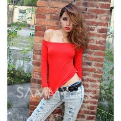 $7.59 Sexy Off-the-Shoulder High Elastic Cotton Long Sleeve T-Shirt For Women