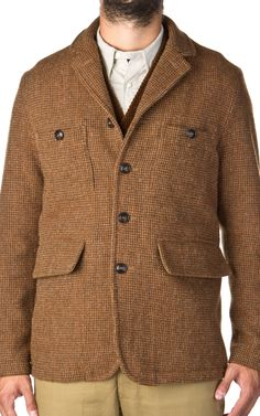 Nigel Cabourn Atkinson Harris Tweed Jacket in Leather Brown •• CULTIZM