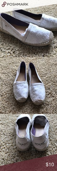 Eyelet white sperrys. Cute... Cute white eyelet sperrys. Like new condition. I don't they I ever wore these. Sperry Top-Sider Shoes Espadrilles