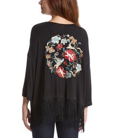 Another great find on #zulily! Black Floral Embroidered Open Cardigan #zulilyfinds