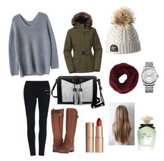 """""""Cozy winter outfit"""" by cisnerosal on Polyvore featuring The North Face, Naturalizer, Carianne Moore, BCBGMAXAZRIA, Calvin Klein, Charlotte Tilbury and Dolce&Gabbana"""