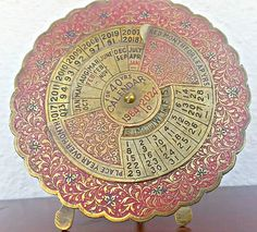 40 YEARS Antique Perpetual Calendar, 1984 to 2024 - RED and Gold  Etched with Flowers - Brass Desktop Calendar -Greek Shop ,EGST