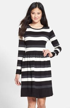 Free shipping and returns on Vince Camuto Stripe Long Sleeve Fit & Flare Sweater Dress (Regular & Petite) at Nordstrom.com. Bold greyscale stripes pattern a neat sweater-dress styled with warm long sleeves and a cute flared waist.
