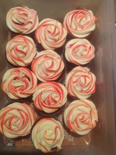 Red Velvet cupcakes with Cherry Liquer/Marscapone filling and cream cheese buttercream frosting