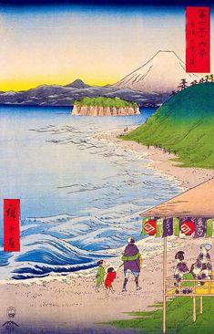 Hiroshige - Thirty-six Views of Mount Fuji 1856 Series 19 The Seven Ri Beach in Sagami Province 神奈川県鎌倉市 Kamakura-shi, Kanagawa-ken Kamakura, Mount Fuji, Woodblock Print, Japanese Art, Great Artists, Printmaking, Scenery, Outdoor Blanket, Landscape