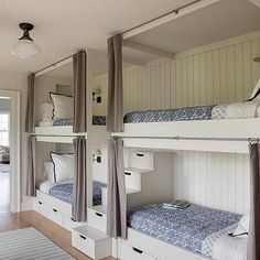 Bunk Beds - Design photos, ideas and inspiration. Amazing gallery of interior design and decorating ideas of Bunk Beds in bedrooms, girl's rooms, boy's rooms by elite interior designers. Bunk Beds For Girls Room, Bunk Bed Rooms, Loft Bunk Beds, Bunk Beds Built In, Bunk Beds With Stairs, Bunk Bed Curtains, Girls Bedroom, Build In Bunk Beds, Built In Beds For Kids