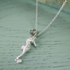 Seahorse Pendant in solid silver with tiny labradorite beads #seahorse #jewelry