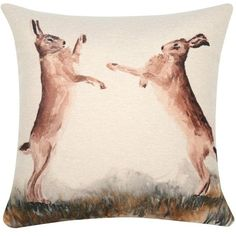 M&Co Boxing Hares Print Cushion ($27) ❤ liked on Polyvore featuring home, home decor, throw pillows, natural, bunny home decor, country style home decor, country throw pillows, rabbit home decor and patterned throw pillows