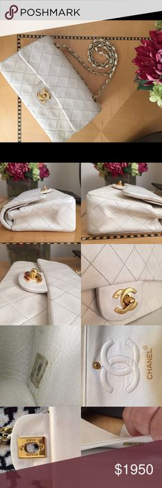 Chanel double flap bag timeless 255 purse Simply stunning. 100% authentic. Still sold in stores today. Gold hardware. White lambskin--the softest. In good pre owned condition with 1) some color fade on the back; 2) a few scuffs on the corners and leather; 3) some scuffs on the chain. Auth code has slightly faded but it will come with certificate and posh will authenticate. Can list for less elsewhere! Please see other listings for more pics! CHANEL Bags Shoulder Bags