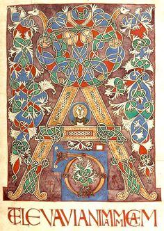 """Lettre """"A"""" enluminée (f°5r) -- «Graduale Albiense», 1001-1100, [BNF Ms Latin 776]."""