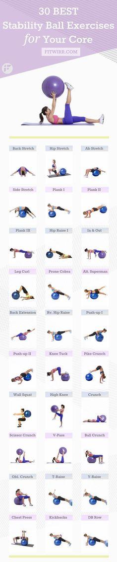 30 Estabilidade bola exercícios para fortalecer seu núcleo