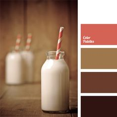 Warm shades of brown is best to dilute the warm coral color or neutral white.