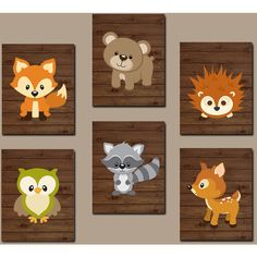 WOODLAND Nursery Wall Art, Woodland Wall Art, Wood Forest Animal Bear... ($48) ❤ liked on Polyvore featuring home, children's room and children's decor