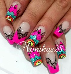 Pin by Beatrice Schulze on Nageldesign in 2019 Wow Nails, Crazy Nails, Pretty Nails, Nail Art Designs Videos, Diy Nail Designs, Fingernails Painted, Neon Nail Art, Mandala Nails, Stiletto Nail Art