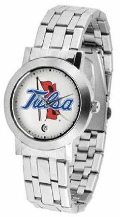 """Tulsa Golden Hurricanes NCAA """"Dynasty"""" Ladies Watch by SunTime. $79.95. Scratch Resist Face. Stainless Steel Case. Date Display. Elegant design for the modern man or woman who wants to show their team spirit! The dial is presented in a sleek, stainless steel case and bracelet that rests fashionably yet comfortably across the wrist. Features a convenient date display, quartz accurate movement and a scratch resistant mineral crystal face.. Save 21%!"""