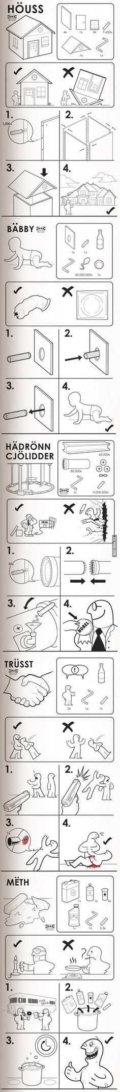 Funny pictures about Ikea's instructions for everything. Oh, and cool pics about Ikea's instructions for everything. Also, Ikea's instructions for everything. Best Funny Pictures, Funny Photos, Funny Jokes, Hilarious, Instructional Design, Everything, Ikea, Rabbit, Houses