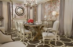 Cherry blossom wallpaper in a traditional style dining room. Love the neutrals with the pinks and you could pop that turquoise in