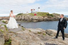Bride and Groom First Look at Nubble Lighthouse ~ Wedding Ceremony & Reception at the Union Bluff Meeting House, York, ME by Artifact Images