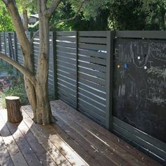 Black horizontal slat fence with a chalkboard element. Brilliant idea! Gardenista.