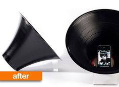 Seriously cool. Using heat to reshape an old vinyl into a (megaphone) speaker to amplify your ipod or phone's music.