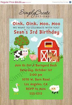 SALE Farm Birthday Invitation Farm Invite  by SimplyCreateDesigns, $7.40