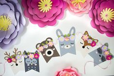 This adorable woodland themed banner is a great decoration for a baby shower, or nursery. This also goes perfectly for a woodland themed birthday or any other woodland themed event. Cute little deer, owl, bear, bunny, fox, and raccoon show their pretty eyelashes and rosey cheeks for the