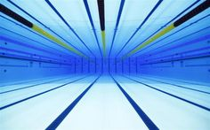 An underwater view is seen of the swimming pool at the Olympic Aquatics Centre in London February 17, 2012.