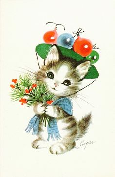 Christmas Kitten. Vintage Christmas Card. Retro Christmas Card.