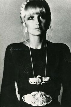 "Barbara Hulanicki.""Plaits period. A transparent knitted Biba tee. Thirty years later Kate Moss found it in the bottom of a friend's drawer and redeveloped it with ladders for Topshop."""