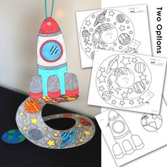 Space Craft by WOWorksheets Space Theme Preschool, Space Activities For Kids, Space Crafts For Kids, Preschool Crafts, Art For Kids, Outer Space Crafts, Craft Space, Astronaut Craft, 1st Grade Crafts