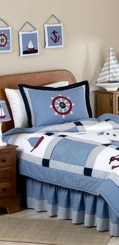 Come Sail Away With Me Boys Nautical Bedding #nautical #kids #boys #bedroom