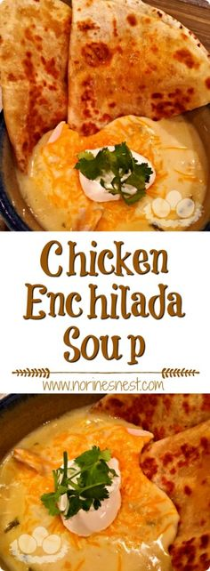 Slow Cooker Easy To Make Chicken Enchilada Soup with Golden Crispy Cheese Quesadillas for dippin' and dunkin' up all that YUM!