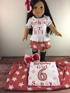 Matching Girl Doll;Star Birthday;Doll Birthday;Dollie And Me;Made To Match;Girl Doll Skirts;Girls Birthday Skirt;Red Pink BirthdayBday Shirt by AllAboutThemDolls on Etsy
