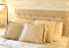 An old fireplace mantle piece as a headboard with a tufted inset. Taupe Bedroom, Cozy Bedroom, Dream Bedroom, Bedroom Ideas, Cottage Living, Cottage Style, Mantle Headboard, Mantle Piece, Painted Cottage