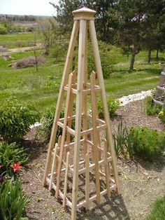 Handmade with Western Red Cedar by Dick Garbe Garden Arbor, Garden Yard Ideas, Easy Garden, Garden Crafts, Garden Planters, Garden Projects, Garden Landscaping, Obelisk Trellis, Wood Trellis
