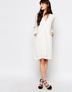 Image 4 ofJust Female Lola Smock Dress in White