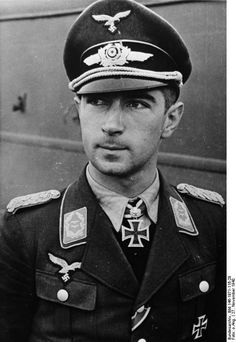 Portrait of German Luftwaffe Oberstleutnant Werner Mölders, 27 Nov 1940; note Knight's Cross of the Iron Cross with Oak Leaves medal