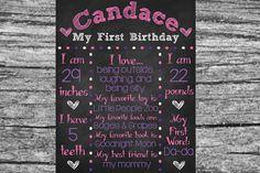 Custom Printable Chalkboard First Birthday Sign Board Poster (Basic) 16x20 // Birthday Sign