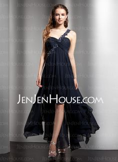 Homecoming Dresses - $133.99 - Sheath Sweetheart Asymmetrical Chiffon  Charmeuse Homecoming Dresses With Ruffle  Beading (022008972) http://jenjenhouse.com/Sheath-Sweetheart-Asymmetrical-Chiffon--Charmeuse-Homecoming-Dresses-With-Ruffle--Beading-022008972-g8972
